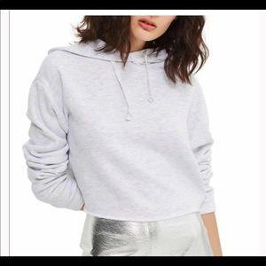 Topshop heather grey cropped hoodie